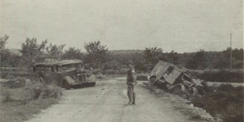 Le carrefour des Quatre Chemins au sud de Callian a été témoin d'une embuscade de la part de plusieurs prachutistes contre une ambulance allemande transportant des soldats allemands armés