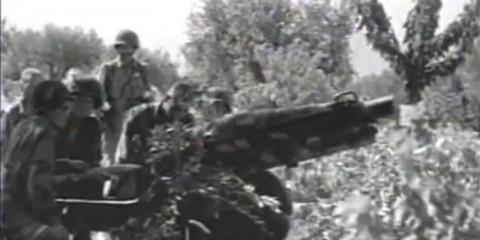 Un des quatre canons de la A Battery du 463rd PFAB sur la Drop Zone C.