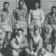 Survivors of the El Djem mission pose after their return to Allied lines. From left to right (standing) : Pvt. Ronald Rondeau, Sgt. John Peters, Lt. Dan DeLeo and Pvt. Frank Romero. Seated : French Army 1/Sgt. Jean Guilhenjouan and Cpl. Paul Vullierme. (John Thompson)