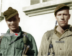 Lt. Col. Wood G. Joerg and Maj. William N. Holm at the 551st PIB Headquarters in Saint-Martin-Vésubie, in Maritime Alps, Southern France in fall 1944. Wood Joerg will be killed by a mortar round on the 7th of january 1945 during the attack on Rochelinval, the last stand of his battalion.