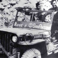 Maj. Willian N. Holm and Lt. Col. Wood Joerg in the 'San Antone' jeep, in Maritime Alps. Fall 1944.