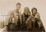 Pfcs. Winston H. Barrett, Barney Rosen and Herko of the B Company 550th Infantry Airborne Battalion at the Camp des Fourches in the Alpes-de-Haute-Provence, Southern France, in fall 1944. Rosen will be killed during the Ardennes counter-offensive in January 1945, probably during the attack of Renuamont. © Larry Giovinco