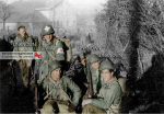 Jack McAtee and a group in front of a farm house in Rahier, sometime in December 1944. In this group is Jack McAtee in front on the right. To the left is Fred Garrett. The Medic is Nick Pugliese. Jack McAtee will be killed in the last stand of his battalion, on the 7th of January 1945 in Rochelinval. This picture is probably the last we can see him. He have been 22 years old. Informations and picture provided by Susan M. Coker