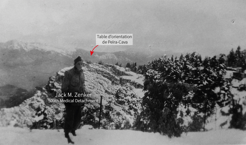 Jack Zenker in Peïra-Cava in fall 1944. In the background we can see the orientation table of Peïra-Cava